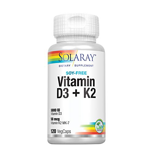 Solaray Vitamin D3 + K2 | D & K Vitamins for Calcium Absorption and Support for Healthy Cardiovascular System & Arteries | Non-GMO & Soy-Free | 120Ct