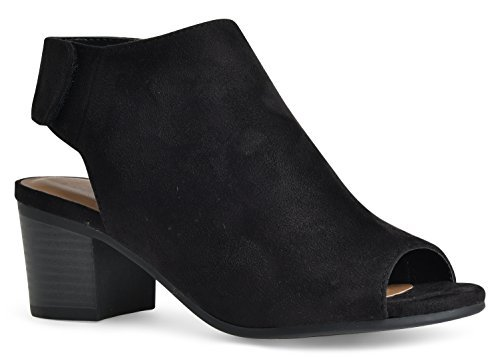 City Classified Women's Harlyn Cutout Peep Toe Stacked Chunky Heel Bootie Black Suede ()