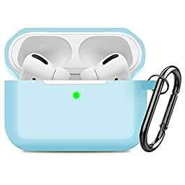 Compatible AirPods Pro Case Cover Silicone Protective Case Skin for Apple Airpod Pro 2019 (Front LED Visible) Blue