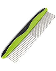 Premium Dog Comb for Easily Removes Tangles and Knots. Cat Comb for Removing Matted Fur. Best Pet Grooming Tool with Rounded and Smooth Ends Stainless Steel Teeth and Anti-Slip Comfort Grip Handle.