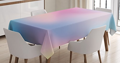 Ambesonne Pastel Tablecloth, Abstract Blurry Colors Composition Daydream Fantasy Miscellaneous, Dining Room Kitchen Rectangular Table Cover, 60