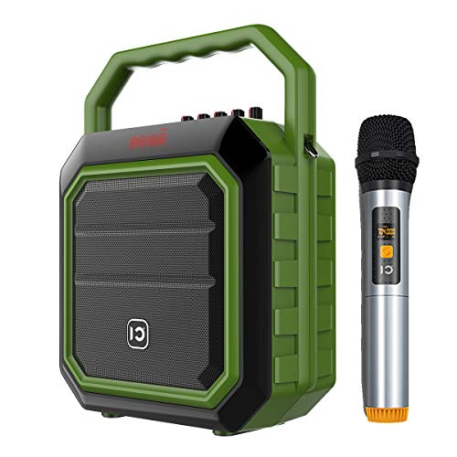 (Wireless Portable PA Speaker System - 30W Bluetooth Voice Amplifier Rechargeable Battery Powered Outdoor Sound Stereo Speaker Microphone Set, Support USB/AUX Input/SD/MP3/FM/Record ect(Wireless Green))