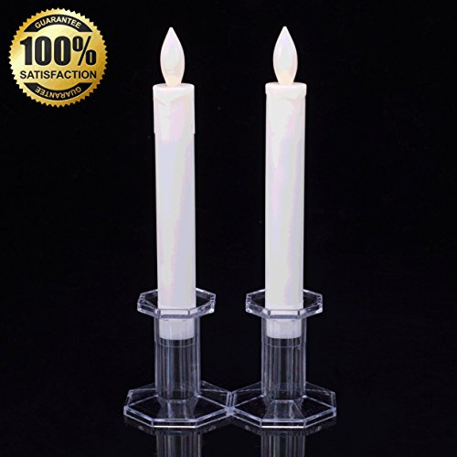 Set of 2 9' Tall LED Flickering Flameless Taper Candles, Ivory- Table Candles Window Candle Lights, Battery Operated Candles Stick Candles, Christmas Candles-- Romance Dinner Candle By JIAJIA Spring