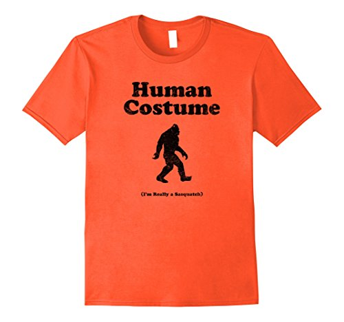 Halloween Sasquatch Costume (Mens Human Costume Halloween Shirt For Sasquatch Believers! Large Orange)