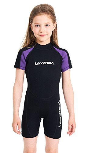 Lemorecn Wetsuits Youth Premium Neoprene 2mm Youth's Shorty Swim Suits (4021purple10)