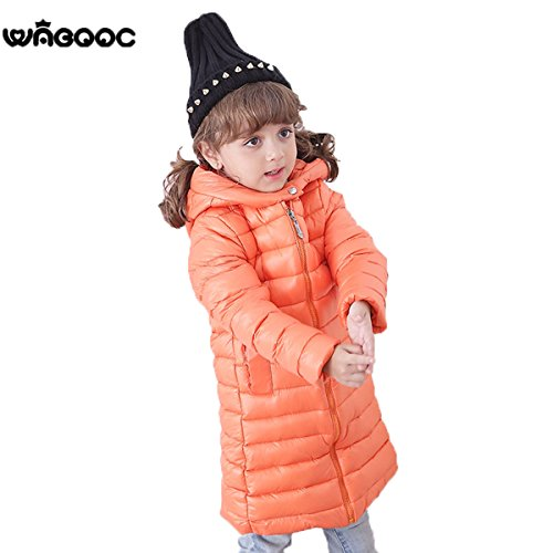 Down Kids Chic Outwear Coat Orange EkarLam® Hooded Plain Children Jacket Long Zip S8BBcU