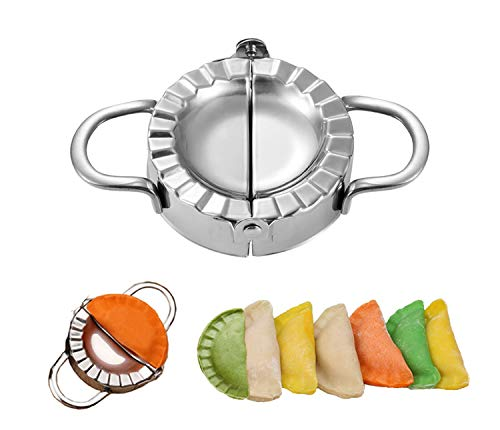 Prettyear Stainless Steel Dumpling press Calzone Ravioli Empanada Turnover Pierogi Maker Mold,Pastry Dough Press (7.5cm,3