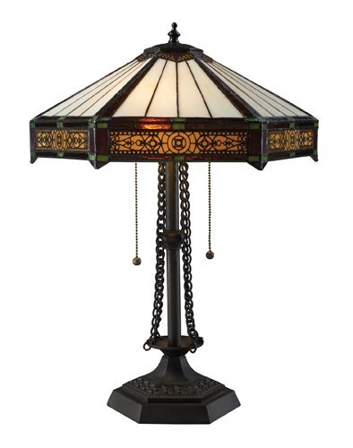 Dimond D1852 16-Inch Width by 22-Inch Height Filigree 2 Light Table Lamp in Tiffany Bronze with Tiffany Glass - Tiffany Co Store And Outlet