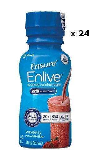 Count of 24 Ensure Enlive Strawberry Oral supplement 8 oz Bottle