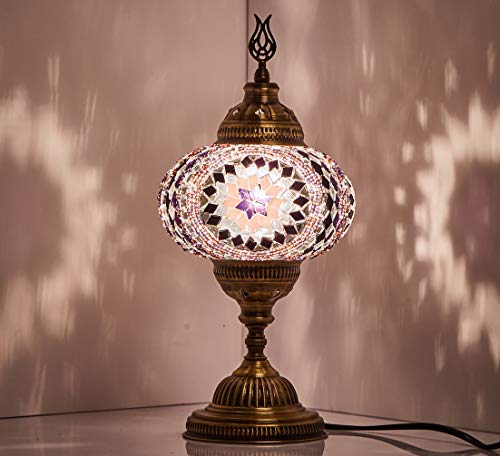 New BOSPHORUS Stunning Handmade Turkish Moroccan Mosaic Glass Table Desk Bedside Lamp Light with Bronze Base - Lamp Purple Mosaic Table