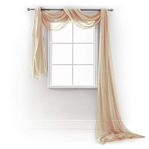 Semi Sheer Luxury Scarf Window Decor Modern Classic Outdoor Home Design Light Penetrating Provide Privacy Soft Durable Polyester Easy Upk. add to Curtains Drapes (Scarf 54