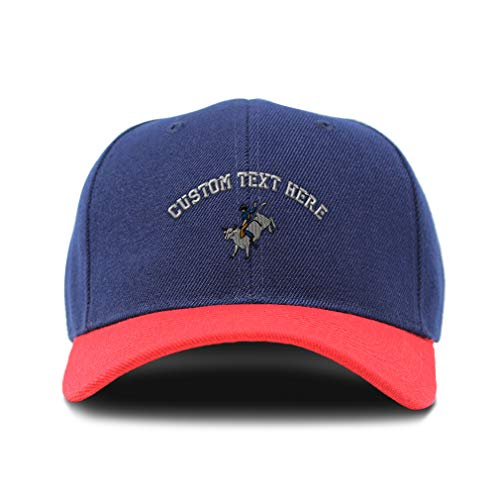 Custom Bi Color Baseball Cap Bull Rider Embroidery Acrylic Dad Hats for Men & Women Strap Closure Navy Red Personalized Text Here One Size