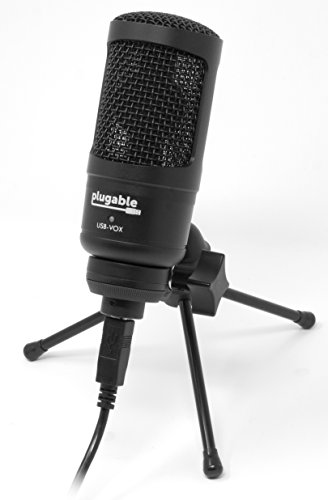 Plugable USB Studio Microphone - Podcast Microphone, Tripod Mounted Cardioid Condenser Microphone Optimized for Streaming Twitch\Mixer\YouTube\Discord (Compatible with Windows, macOS, Linux PCs)
