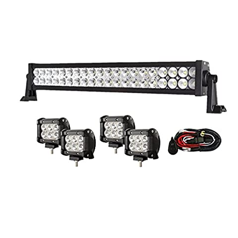 Enk 20 Inch 120W LED Work Light Bar Flood Spot Combo Beam Waterproof for Jeep Off-road SUV Ford Pickup Camper Boat Truck with 4 Pcs 4 Inch 18W Pods and Wiring - Mustang Dual Pod