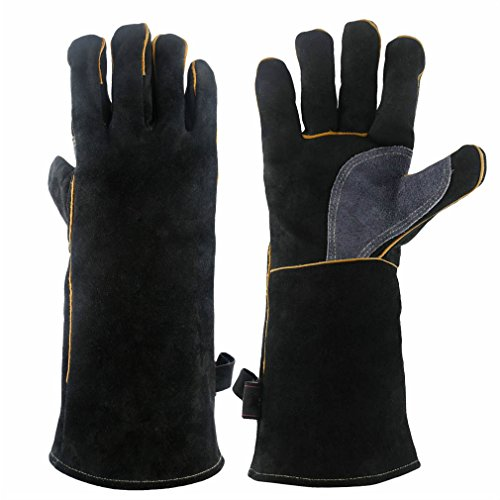Mig Glove Tig Welder (CCBETTER 16 Inches Forge Welding & BBQ Leather Gloves, 932°F Extreme Heat/Fire Resistant with Long Sleeve for Grill/Forge/Fireplace/Tig Welder/Mig Welding/Gardening Gloves(Black))
