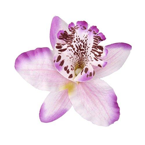 20pcs 8cm Artificial Silk Orchid Dendrobium Flower Heads Decor -Light purple