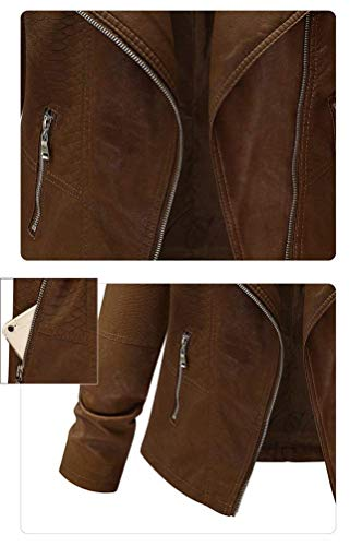 Donna Lunga Cerniera Stile Laterali Giubbino Giacca Coat Impermeabile Manica Tasche Cappotto Monocromo Similpelle Kaffee Vintage Pelle Invernali In Con Modern BfrwOBqv