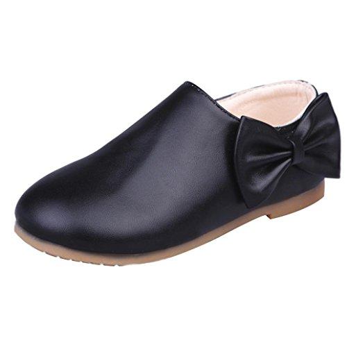 Huhu833 Kleinkind Baby Mädchen Kinder Mode Bowknot Sneaker Stiefel Reißverschluss Freizeitschuhe Schwarz