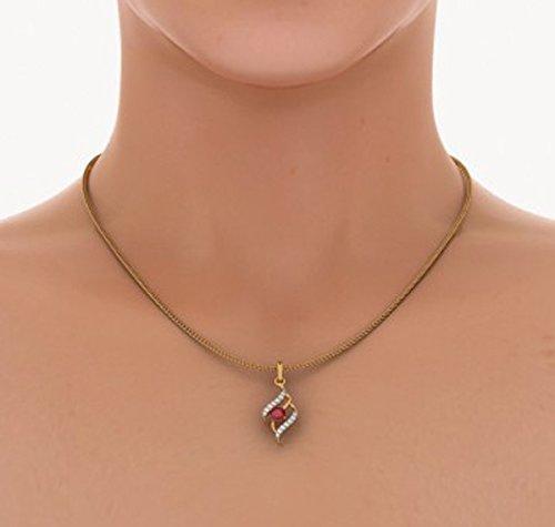 18K Or jaune 0.12CT TW Round-cut-diamond (IJ | SI) et rubis Pendentif