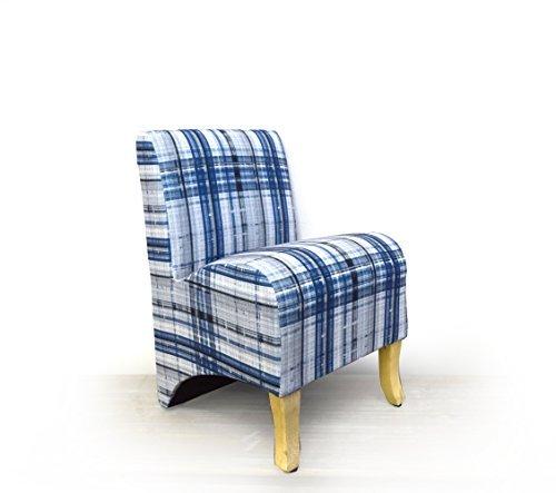 Mobili Rebecca Sedia Poltrona Sgabello in Miniatura comoda Seduta imbottita Legno Pino Colore Camera Cameretta (Blu Scuro)