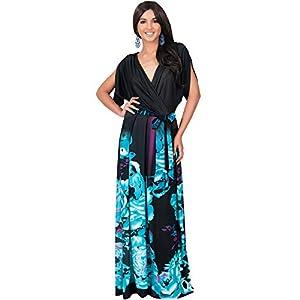 KOH KOH Womens Long V-Neck Short Sleeve Floral Print Gown Elegant Maxi Dress