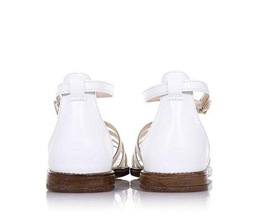 LIU JO - Weiße Sandale aus Leder mit Glitzer-Effekt auf der Vorderseite, mit Schnallenverschluss, Mädchen, Damen