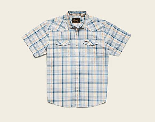 - Howler Brothers H Bar B Snapshirt - Brooks Plaid : Creamy Blue - Large