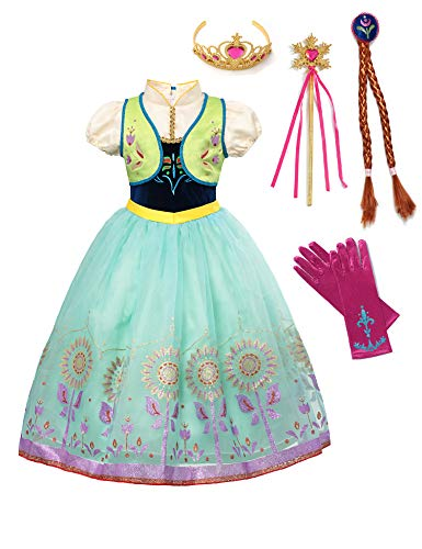 aibeiboutique Princess Anna Costume Halloween Cosplay Deluxe Dress Up for Girls (Green, 4-5 Years)