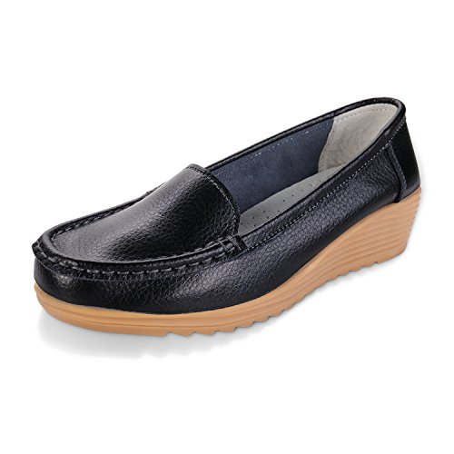 Labato Women's Casual Leather Loafers Slip-On Slippers Driving Flat Shoes #Black#