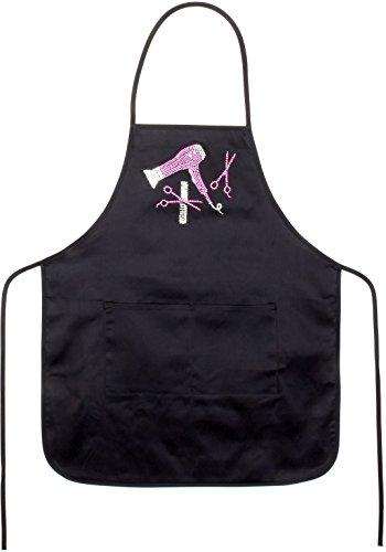 Women's Crystal Rhinestone Stylist Salon Hair Dryer Bib Apron (Black/Pink) -