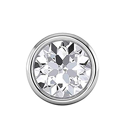 14K White Gold Over Brilliant Round Cut Bezel Highest Quality Moissanite VVS-VS Solitaire Pendant For Women