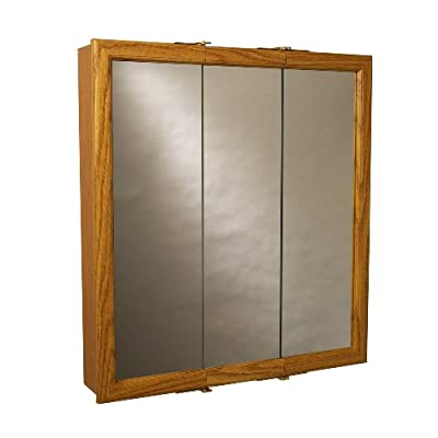 Zenith Products K30 Wood Tri-View Medicine Cabinet - Oak finish frame Tri-view medicine cabinet 2 fixed interior shelves - shelves-cabinets, bathroom-fixtures-hardware, bathroom - 41AAv2uivEL. SS400  -
