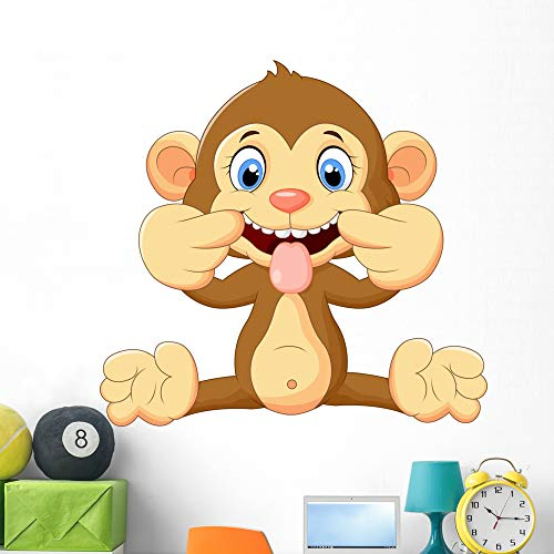 Monkey Tail Teaser - Wallmonkeys Cartoon Monkey Making Teasing Wall Decal Peel and Stick Animal Graphics (48 in W x 45 in H) WM38799
