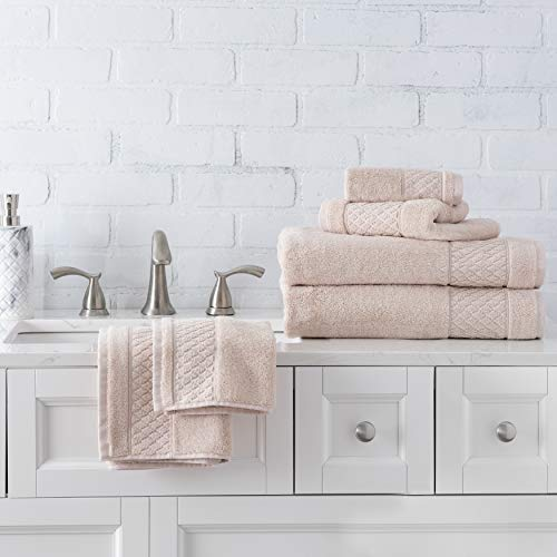 (Welhome Hudson 100% Pure Organic Cotton 6 Piece Luxury Towel Set (Soft Rose) Durable - High Absorbency - Hotel Spa Bathroom Towel Collection - 651 GSM - 2 Bath - 2 Hand - 2 Wash Towels)