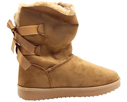 True Face Ladies Bow Bootie Faux Fur Line Ankle Flat Boots Yellow jhtEVl7