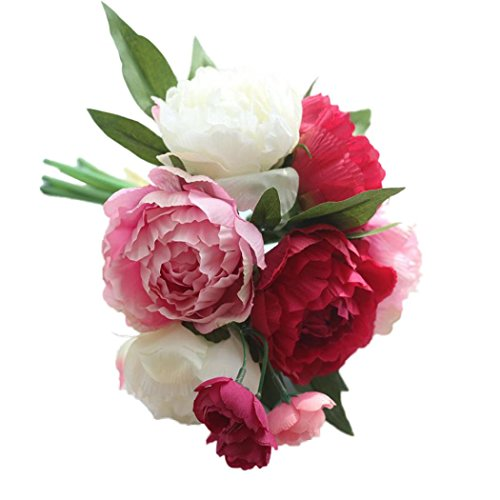 Holland Floral Vase (SMYTShop Artificial Fake Flowers Peony Bouquet Floral Wedding Bouquet Party Home Decor(6 Large+3 Small))