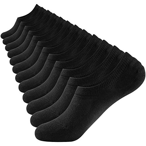 Closemate No Show Socks 6 Pairs Non Slip Cotton Low Cut Invisible Casual Socks for Men & Women, Black, Men's Size: 6-10 / Women's Size: 7-11 (No Show Socks That Don T Slip)