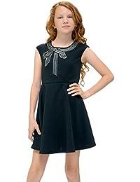 Big Girls Tween Embellished Party Dress, 7-16 (10, Black Multi)