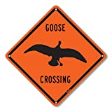 PetKa Signs and Graphics PKAC-0065-NA_10x10''Goose Crossing'' Aluminum Sign, 10'' x 10'', Black on Orange