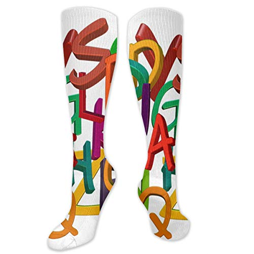 Stretch Socks Abc Alphabet Letters Soccer Socks With Soccer Balls Over The Calf PersonalizedFor Running,Athletic,Travel,Pregnancy ()