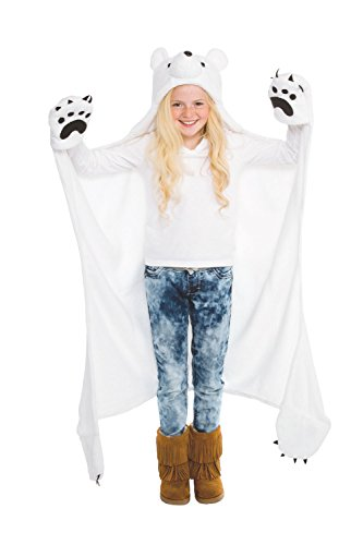 Fin Fun Snowcap Polar Bear Wearable Hooded Blanket by Wild Things ()