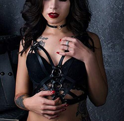 Women Punk Body Chest Harness Leather Waist Belt Caged Bra Rave Festival Dance Club Party Black
