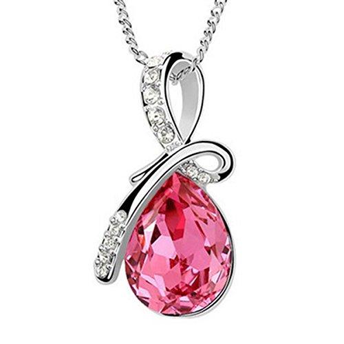 Wrapables Eternal Love Swarovski Elements Crystal Teardrop Pendant Necklace, Rose Red