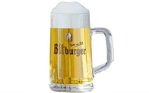Bitburger German Beer Mug Glass 0.5 Liter (1/2 Liter German Beer)