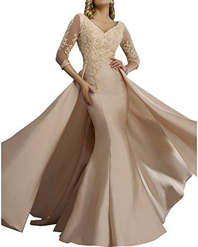 Abschlussballkleider Silber Promkleider Festlichkleider Damen Abendkleider Ballkleider Lang Glamout Champagner Spitze Charmant 7qZwR8T
