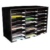 Storex 61611 Sorter Literature Organizer, Durable Plastic, 24 Compartments, Black, Office Central