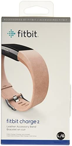 Fitbit Charge 2 Accessory Band, Leather, Blush Pink, Large