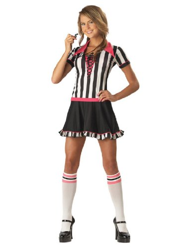 Referee Costume Halloween Express (InCharacter Costumes Teen Racy Referee Costume, Black/White/Pink, Small)
