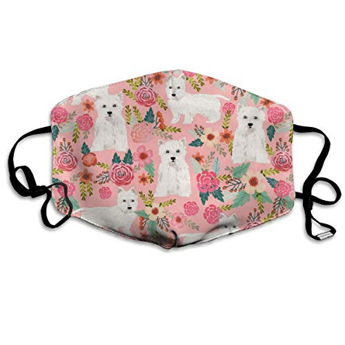 EDFYUHJ Westie Floral Fashion Earloop Face Masks, Anti-Dust Anti Flu Pollenm Germs Bacteria Virus Smog Face and Nose Cover with Adjustable Elastic Strap, Medical Mask