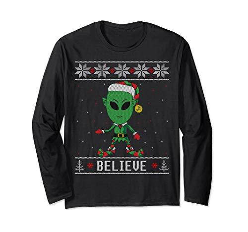 Believe Alien Elf Ugly Christmas Sweater Style Long Sleeve